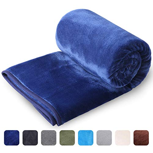 LEISURE TOWN Soft Blanket Queen Size All Season Fleece Blankets Lightweight Warm, Luxury Cozy Plush Throw Blanket for Sofa Bed Couch, 90 by 90 Inches, Royal Blue ()