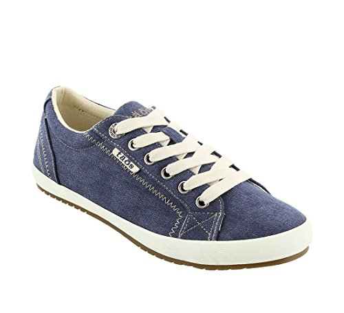 Taos Footwear Women's Star Blue Wash Canvas Sneaker 7.5 (W) US