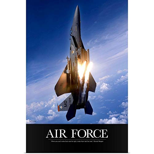 - GREATBIGCANVAS Poster Print Entitled Military Poster: an F-15E Strike Eagle pops Flares by Kate Lillyson 12