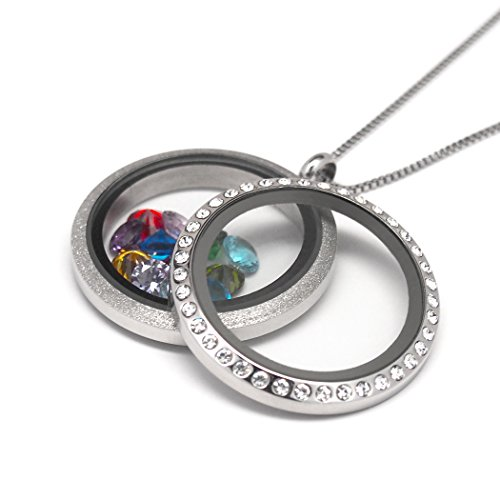 Women's Floating Charm Necklace (Dual Sided Locket) | Pendant Jewelry with 12 Birthstones and Box Chain -