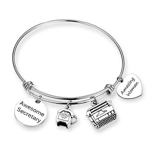 ZNTINA Secretary Gift Awesome Secretary Bracelet Coworker Leaving Gift Retirement Jewelry for Office Worker (BR-Awesome Secretary)