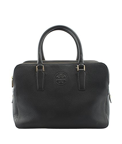 Tory Burch Marion Triple Zip Black Leather Satchel