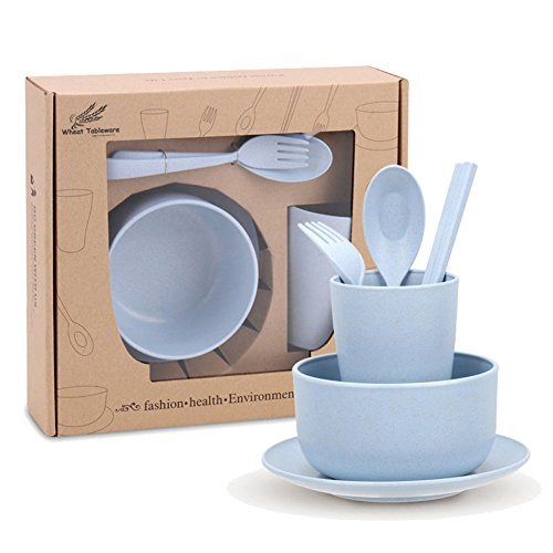 Golandstar Healthy Kitchen Dinnerware Bowl Sets Eco Biodegradable Unbreakable Dinner Plates Bowl Dinnerware, Fork, Spoon, Cup, Chopsticks (6, 6pcs Blue)