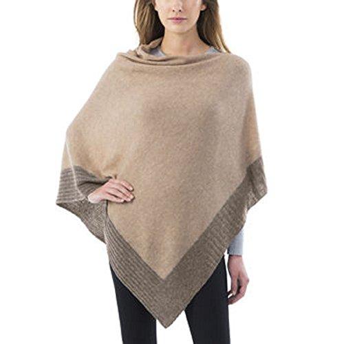 - Celeste Ladies Colorblock Cashmere Blend Travel Wrap Poncho (Tan / Neutral)