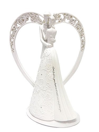 (Heart Language of Love Bride and Groom White Wedding Cake Topper Figurine)