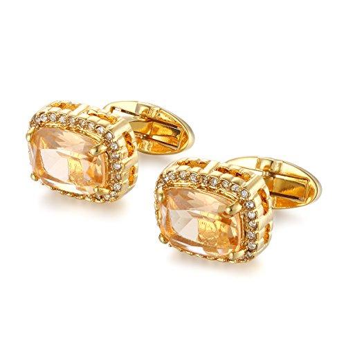 (YEYUNTO 1 Pair 2 Pcs Men's Gold Plated Cubic Zircon Cufflinks Men's Gold Dark Topaz Crystal Cuff Links)