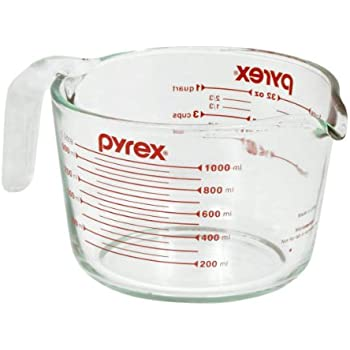 Pyrex 4-Cup Measuring Cup, Clear with Red Graphics