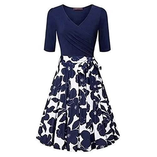 TnaIolral Womens Vintage Flared A-Line Dress with Belt Floral Cross V- Neck Dresses Dark Blue