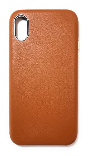 iPhone Xs Leather Case iPhone X/Xs Genuine Premium Leather Case Slim Fit Microfiber Lining Metal Buttons Proctective Snap On Leather Case for Apple iPhone X/Xs (5.8 inch) (Brown)