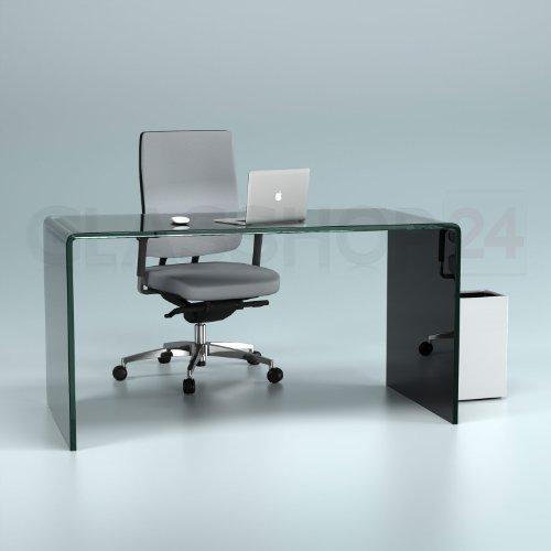 Design Schreibtisch aus 15mm Echtglas (B/T/H) 1400x700x730mm - schwarz