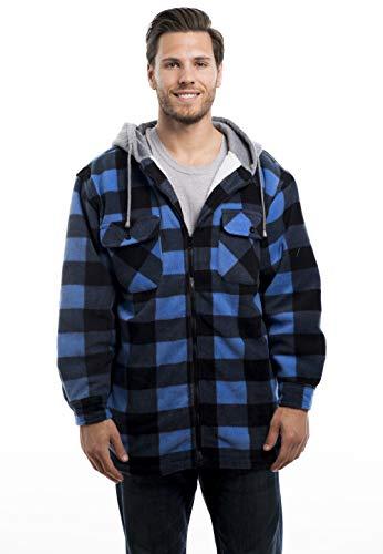TrailCrest Men's Warm Sherpa Lined Hoodie Fleece Shirt Jacket-Classic Zip Up Buffalo Plaid
