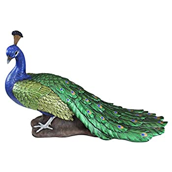 Design Toscano Regal Peacock Garden Bird Statue, Large, 34 Inch, Polyresin, Full Color