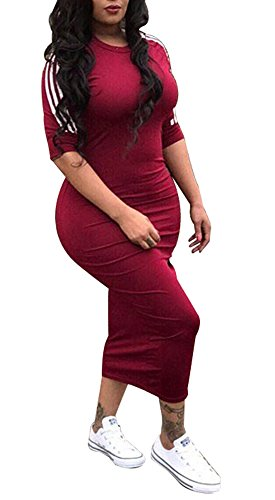 A Vestito Metà Midi Fit Chellysun Vino Manica Donne Vestito Aderente Rosso Strisce Slim Clubwear SwIRtv5txq