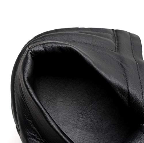 à PU Femmes Rivet Haut Artificielle Lacets Chunky à Plate Forme Talon à Bottes Shiney Talon Black xqRfv4w0w