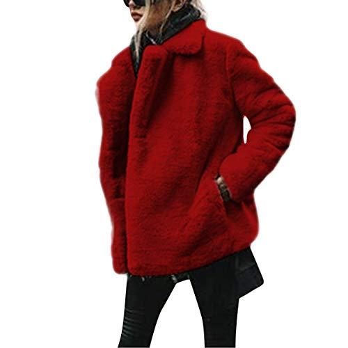 D'hiver Manteau Fourrure À Manches Veste Red Deep Longues Femme Goyfeelip Cardigan Poche Fausse pFWwZwav
