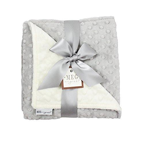 Meg Original Minky Dot Baby Blanket  Ivory   Gray  973