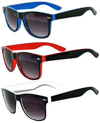 Retro Vintage Two Tone frame Sunglasses 3 Pairs - Red, Blue, ()