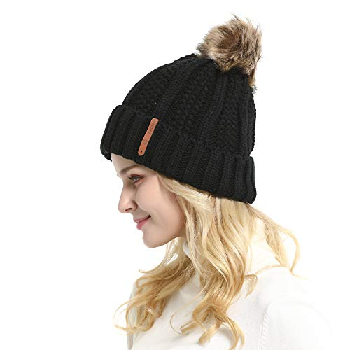 GanJingRen Women's Faux Fur Pompoms Lined Thick Knitted for sale  Delivered anywhere in Canada