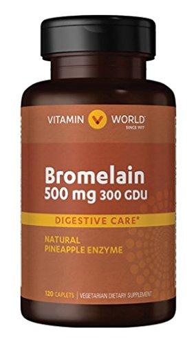Vitamin World Bromelain 500 mg 300 gdu Digestive Care Natural PineApple Enzyme Vegetarian Supplement 120 caplets by Vitamin World