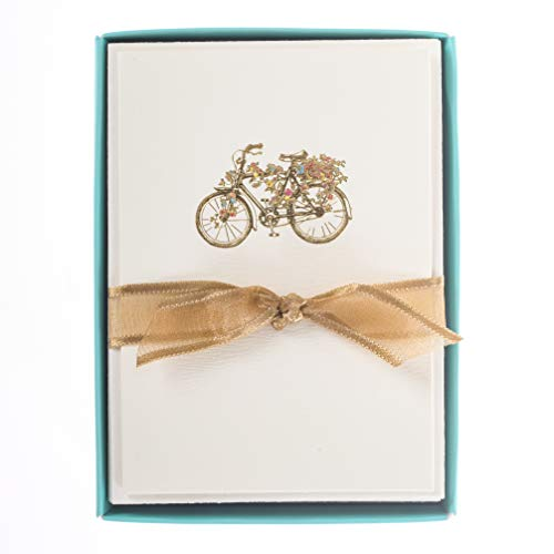 France Note - Graphique Flower Bicycle La Petite Presse Boxed Notecards, 10 Embellished Gold Foil Blank Cards with Matching Envelopes and Storage Box, 3.25