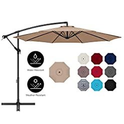 Garden and Outdoor Best Choice Products 10ft Offset Hanging Market Patio Umbrella w/Easy Tilt Adjustment, Polyester Shade, 8 Ribs for… patio umbrellas