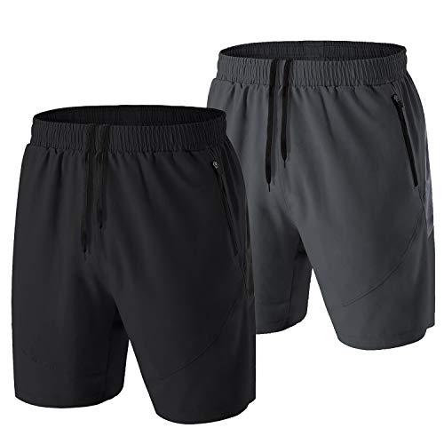 HMIYA Heren Sport Shorts Sneldrogende Running Gym Casual Korte Lichtgewicht met zakken met rits