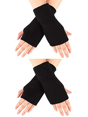 2 Pairs Unisex Fingerless Gloves Stretchy Knitted Gloves Fingerless Thumb Hole Gloves Wrist Length Driving Arm Warmers (Color Set 1) (Fleece Wristies)