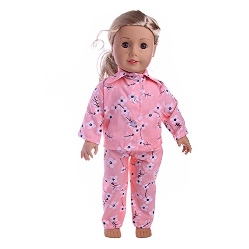 Wensltd Clearance! Cute Design Pajamas Clothes Set For 18 inch Our Generation American Girl Doll (B)