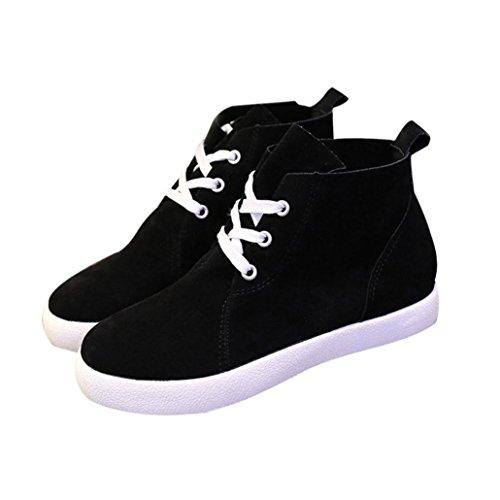 Ama (tm) Femmes Automne Printemps Cheville Bottes Flats Casual Lace Up Mocassins Chaussures Singal Noir
