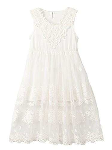 Horcute Princess Sleeveless Vintage Lace Long Flower Girl Dress White 120#6-7Y (White Vintage Lace Flower)