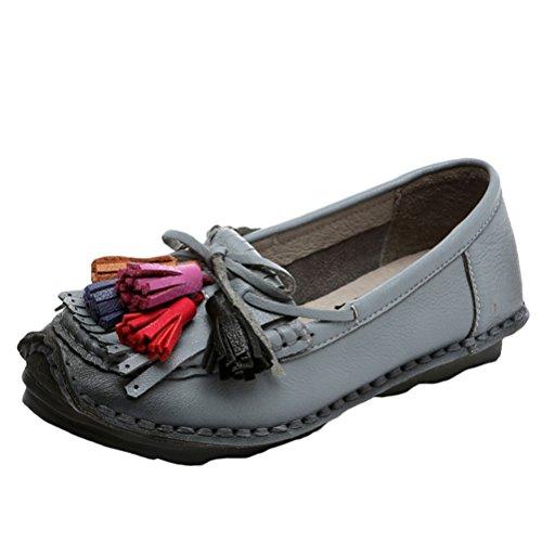 Mordenmiss Los Zapatos Planos De La Nueva Del Verano Del Resorte De La Flor Hecha A Mano Patrón De Cuero De Las Mujeres Mocasines Estilo 3 Gris Barato Real Finishline Tienda outlet de calidad KjhRUz