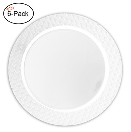(Tiger Chef 6-Pack 13 inch Round White Diamond Plastic Charger Plates Disposable Set of 2, 4, 6, 12 or 24 for Parties, Wedding, and Special Events)