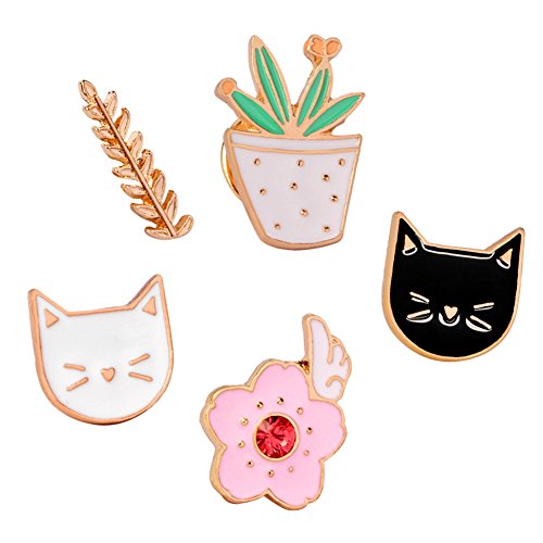 Plant Pin (SIVITE Cute Enamel Cat Flower Brooch Lapel Pin Set for Clothes Hats Bags Scarf Alloy Badge)