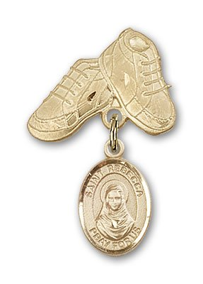 ReligiousObsession's 14K Gold Baby Badge with St. Rebecca Charm and Baby Boots Pin