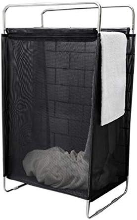 Virod 折りたたみ式障害物携帯用洗濯かごナイロンステンレス鋼フレーム浴室服収納バスケット、2色 (Color : Black, Size : 15.35*11.81*27.16in)
