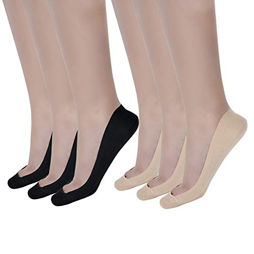 Flammi Women's 6 Pairs TRULY No Show Socks for Flats Non Slip Ultra Low Cut (Beige,Black)