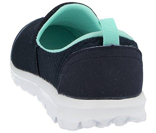 Ladies Memory Foam Slip On Canvas Pumps Mesh Flexi Comfort Plimsoll Casual Sports Trainers Go Shoes Size 3-8 Navy/Lt Blue vK12E