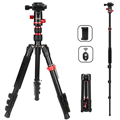 ZOMEi Camera Tripod Lightweight Travel Tripod Monopod 2 in 1 Portable Camera Tripod Stand with 360 Degree Ball Head, Remote Bluetooth and Phone Clip for Canon Nikon Sony GoPro DSLR SLR, Smartphone