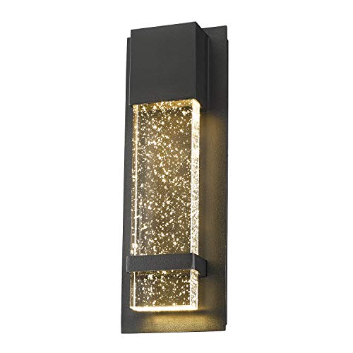 (Emliviar Indoor Outdoor LED Wall Sconce Light, Modern Wall Lamp in Black Finish with Bubble Glass, 0395-WD)