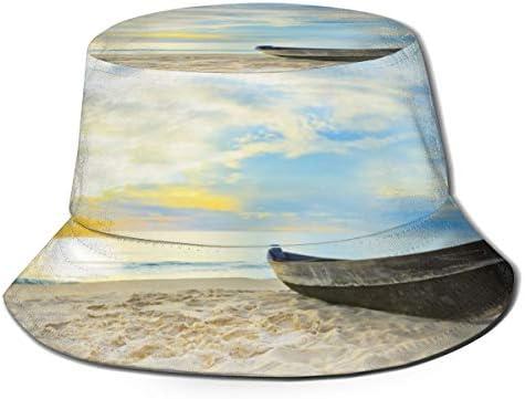 Junkai ブルー オーシャン ビーチ シップ バケットハット 男女兼用帽子 UV 翼幅広 紫外線対策 日よけ 小顔効果