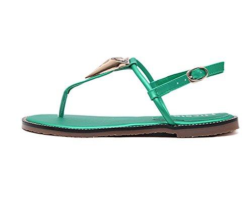 Las Mujers T-Correa Sandalias Planas Bohemia Sandalias Del Dedo Del Pie Del Clip Zapatos Sandalias Verde