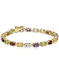 Yellow Gold Plated Sterling Silver Multi-Gemstone Bracelet, 7""