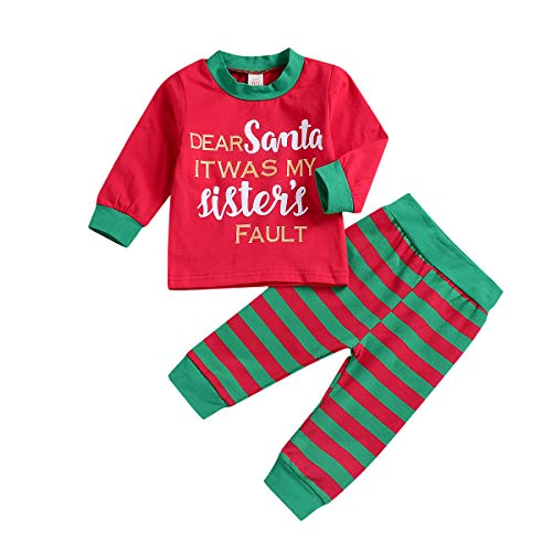 Toddler Baby Boy Girl Christmas Clothes Kids Long Sleeve T-Shirt Top + Striped Pants Outfits Homewear Pajamas Set (Toddler Baby Xmas Clothes, 18-24 M)]()