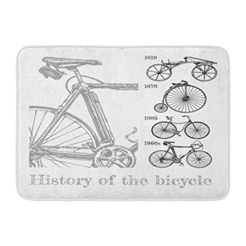 "Emvency Bath Mat Bicycle Evolution in Ink Style Types Cycles Draisine Penny Farthing Safety and Modern Racing Bike Bathroom Decor Rug 16"" x 24"""