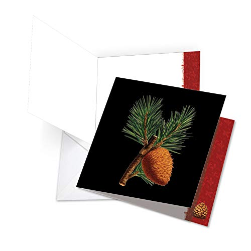 (New Jumbo Square-Top Happy Holidays Card: Black Pine Featuring Artistically Laid Out Pine Cones and Needles, with Envelope 8.5 x 11 Inch JQ6126FHHG)