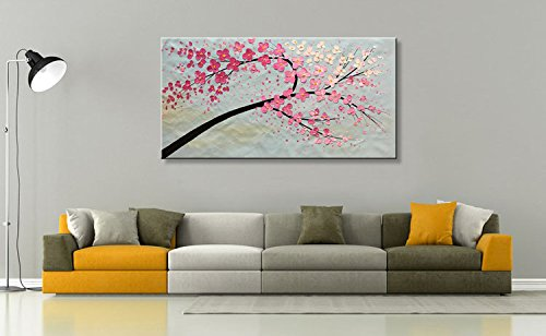 Seekland Art Modern Abstract Canvas Art Hand Painted Flower Oil Painting Pink Plum Blossom Floral Artwork Stretched and Ready to Hang ( Framed 56''W x 28''H ) by Seekland Art