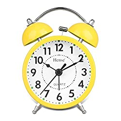 Classical Retro Twin Bell Alarm Clocks Mute Silent Quartz Movement Non Ticking Sweep Second Hand Bedside Desk Analog Morning Wake Up Alarm Clock with Nightlight Backlight and Loud Alarm HA01 Yellow