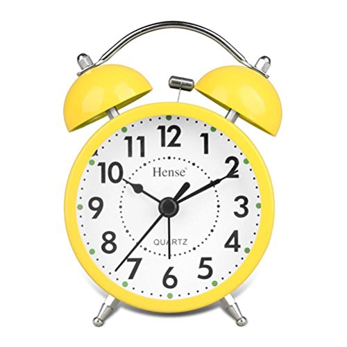 HENSE Samrt Nightlight Alarm Clock, 4 inch Twin Bell Silent Quartz Analog Non-ticking Bedside Colorful Display Alarm Clock with Loud Alarm HA01N-04(Yellow)