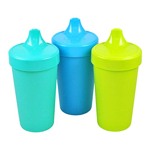 (Re-Play Made in The USA 3pk No Spill Sippy Cups for Baby, Toddler, and Child Feeding - Aqua, Sky Blue, Green (Under The Sea) Durable, Dependable and Toddler Tough )