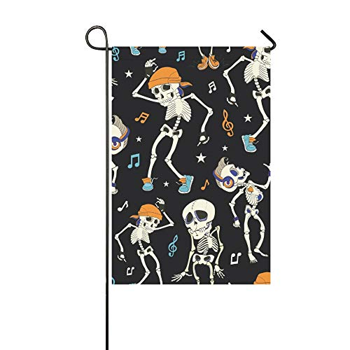 IIAKXNB Home Decorative Outdoor Double Sided Dancing Skeletons Party Halloween Garden Flag,House Yard Flag,Garden Yard Decorations,Seasonal Welcome Outdoor Flag 12 X 18 Inch Spring Summer Gift ()